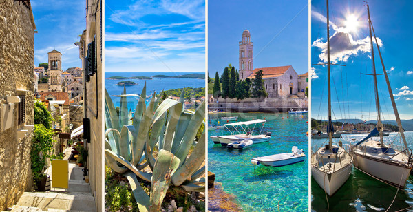 Island of Hvar tourist collage Stock photo © xbrchx