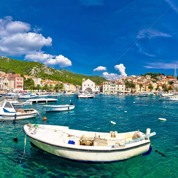 Turquoise waterfront of town Hvar Stock photo © xbrchx