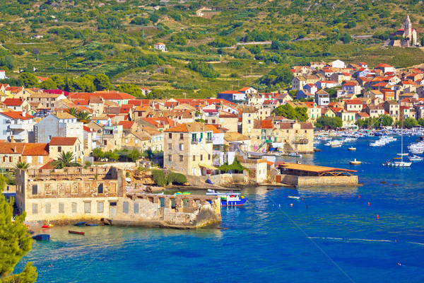 Idyllic town of Komiza on Vis island summer view Stock photo © xbrchx