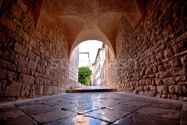 Town of Krk historic stone steet passage view, Stock photo © xbrchx
