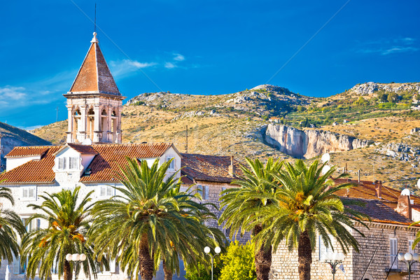 Trogir landmarks and mountain cliffs background Stock photo © xbrchx
