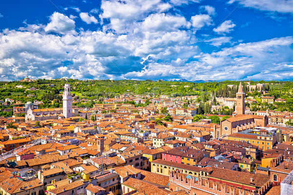 Verona rooftops and cityscape aerial view Stock photo © xbrchx