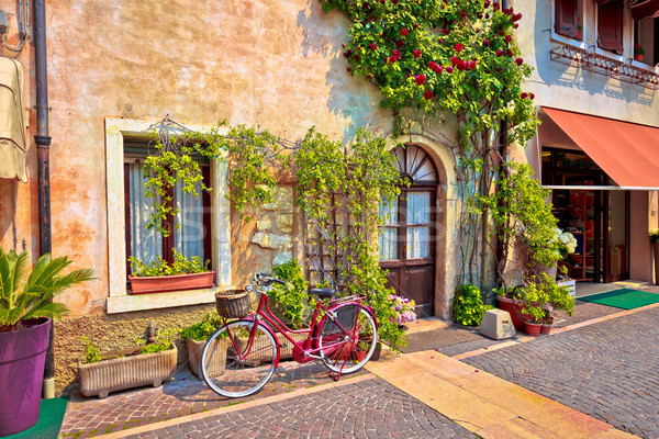 Italian street old architecture in Lazise Stock photo © xbrchx