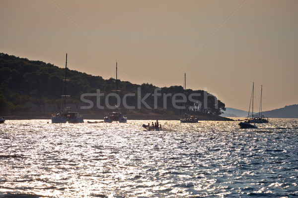 Island of Zlarin sailing bay at sunset view Stock photo © xbrchx