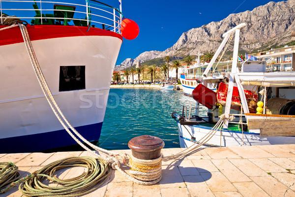 Makarska fishermen harbor colorful view Stock photo © xbrchx
