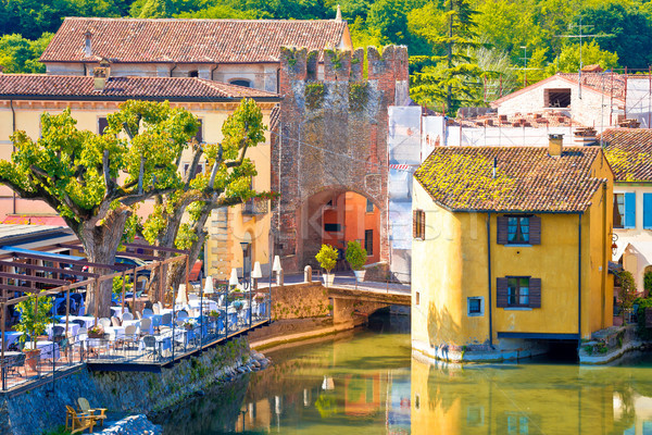 Mincio river and idyllic village of Borghetto view Stock photo © xbrchx