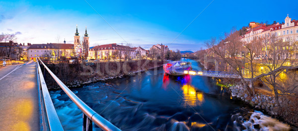 City of Graz Mur river and island evening view Stock photo © xbrchx