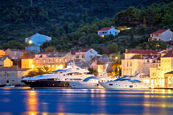 Luxury yachts in Town of Vis waterfront Stock photo © xbrchx
