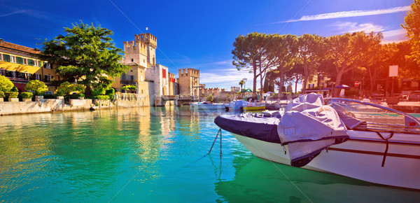 Lago di Garda town of Sirmione turquoise watefrront panoramic vi Stock photo © xbrchx