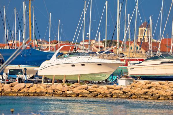 Jacht száraz dokk marina kilátás mediterrán Stock fotó © xbrchx