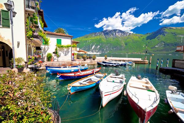 Lake Garda in town of Limone sul Garda waterfront view Stock photo © xbrchx