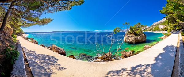 Idylliczny plaży panoramiczny widoku wody morza Zdjęcia stock © xbrchx