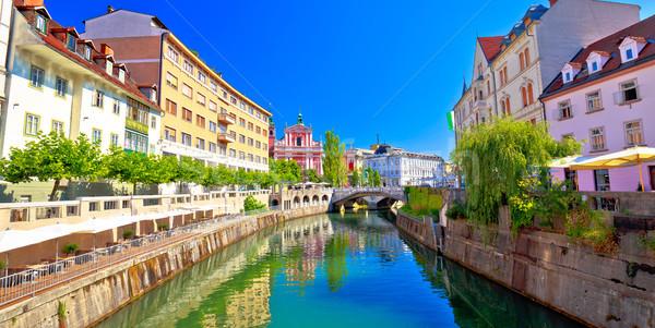 City of Ljubljana historic riverfont view Stock photo © xbrchx