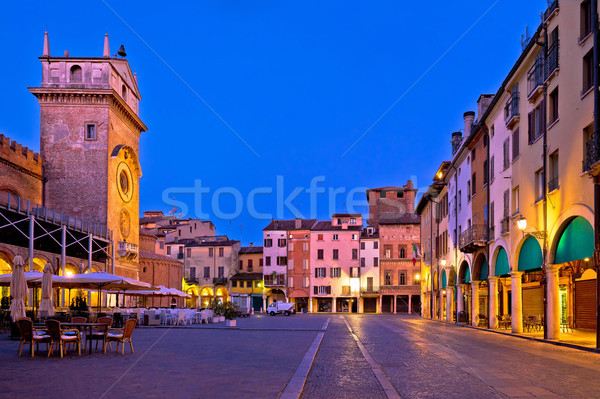 Mantova city Piazza delle Erbe evening view panorama Stock photo © xbrchx