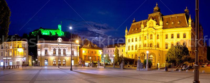 Ljubljana square and landmarks evening panoramic view Stock photo © xbrchx