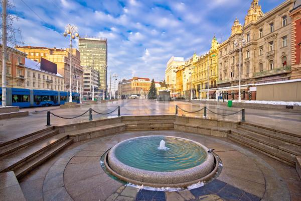 Ban Jelacic square in Zagreb advent view Stock photo © xbrchx