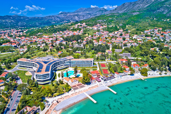 Dubrovnik region waterfront in Mlini and Srebreno aerial view Stock photo © xbrchx