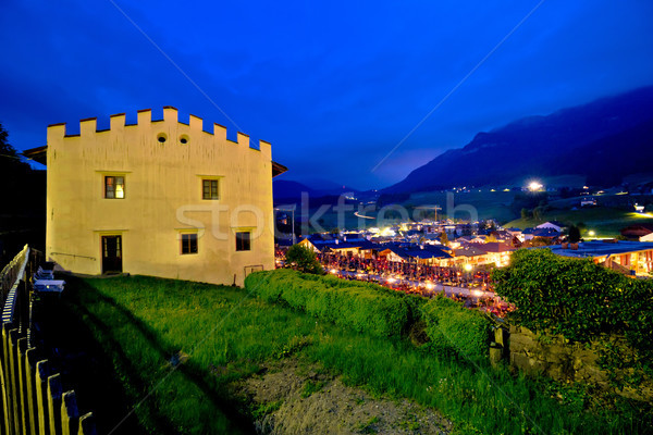 Town of Kastelruth evening view Stock photo © xbrchx