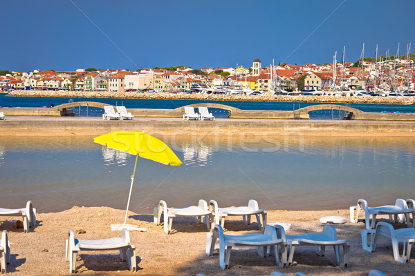 Adriatic town of Vodice beach and marina view Stock photo © xbrchx