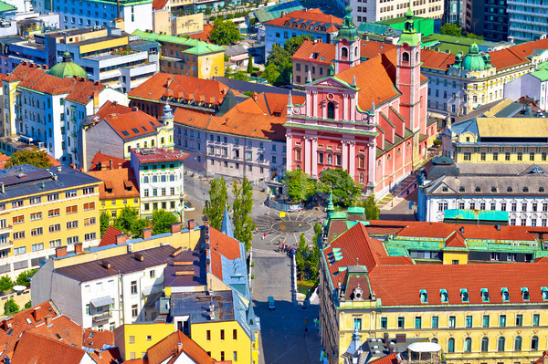 Stock photo: Ljubljana city center and Presern square aerial view