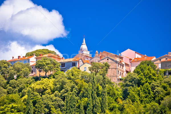 Stock photo: Town of Omisalj on green Krk island hill view