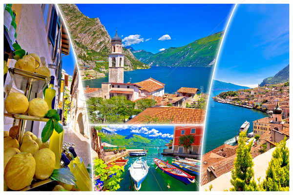 Stock photo: Limone sul Garda collage tourist destination postcard