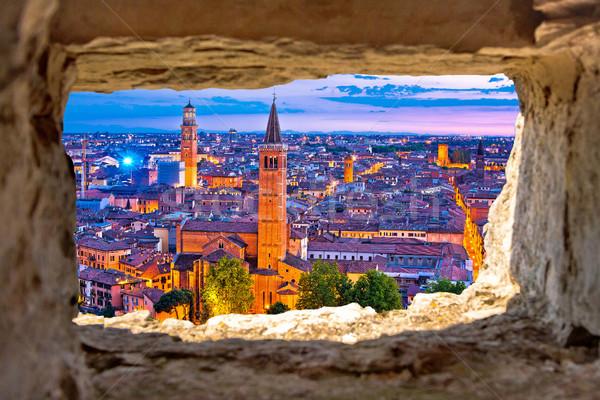 Verona histórico linha do horizonte noite ver pedra Foto stock © xbrchx