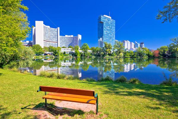 Kaiserwasser lake park and Vienna international centre bussines  Stock photo © xbrchx