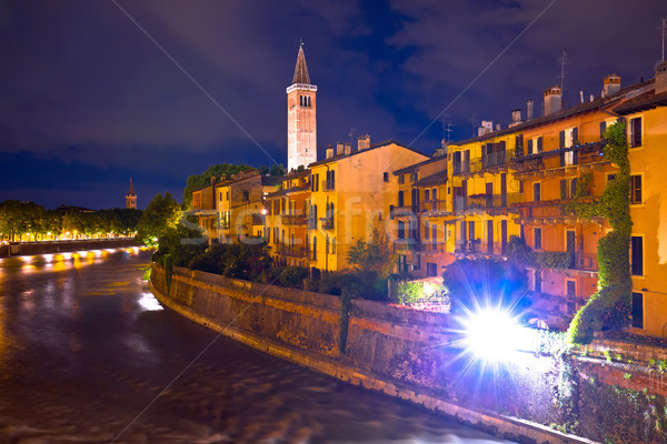 Adige river waterfront evening view in Verona Stock photo © xbrchx