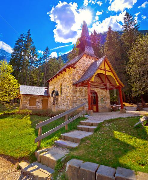 Church and Braies lake in Dolomite Apls Stock photo © xbrchx