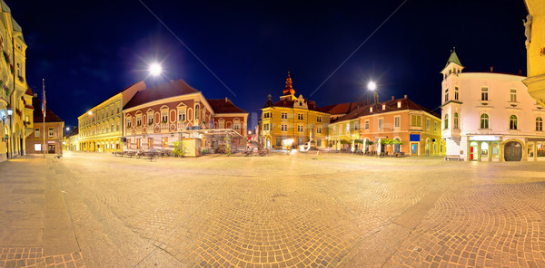 Town of Ptuj historic main square panoramic evening view Stock photo © xbrchx