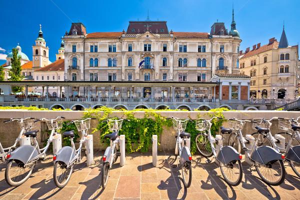 Architectuur toeristische fietsen stad gebouw landschap Stockfoto © xbrchx