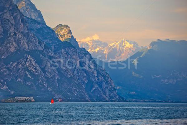 Lago di Garda and high cliffs view Stock photo © xbrchx