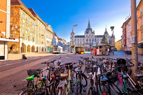 Stadt Graz Haupt Platz Aufkommen Ansicht Stock foto © xbrchx