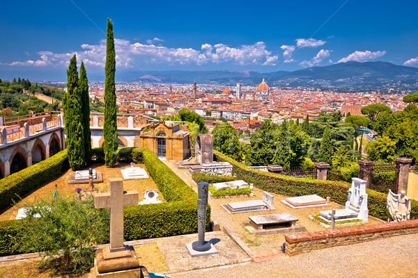 Florence cityscape panoramic view from San Miniato al Monte Stock photo © xbrchx