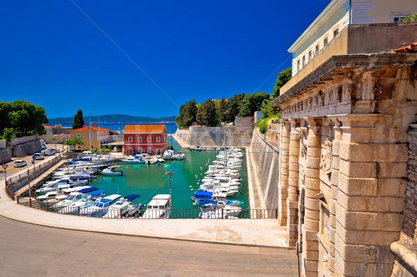 Zadar city gate and Fosa harbor view Stock photo © xbrchx