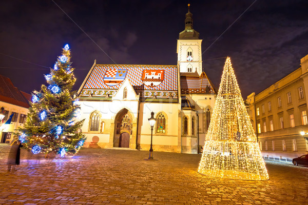 Zagreb government square advent evening view Stock photo © xbrchx