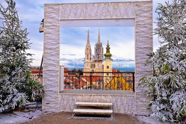 Zagreb catedral cityscape advento ver famoso Foto stock © xbrchx