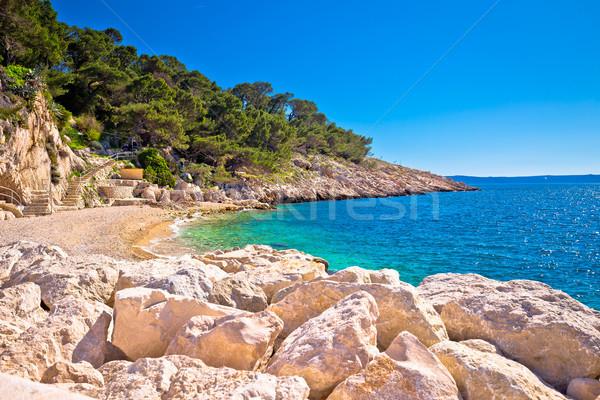 Makarska turquoise beach at sunny day view Stock photo © xbrchx