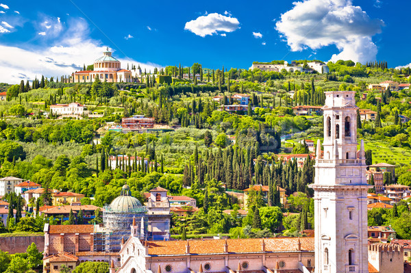 Verona rooftops and Madonna di Lourdes sanctuary view Stock photo © xbrchx