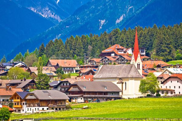 Niederrasen village in Pusteral valley view Stock photo © xbrchx