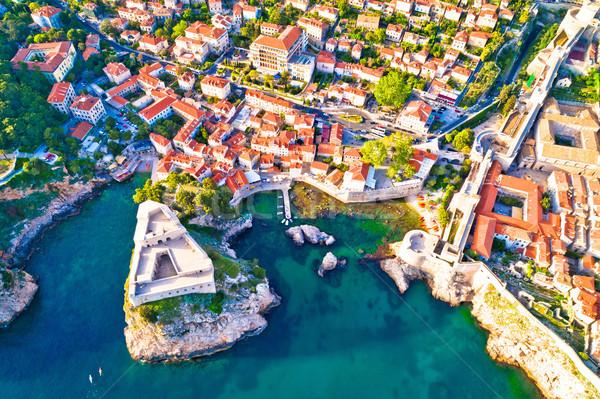 Dubrovnik ancient landmarks Lovrijenac and Pile city gate aerial Stock photo © xbrchx