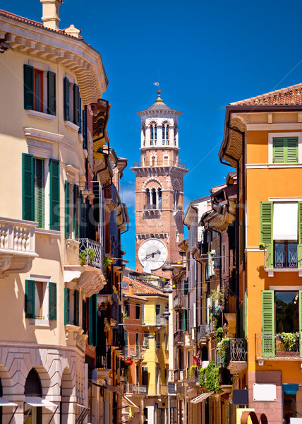 Stock photo: Verona colorful street and Lamberti tower view