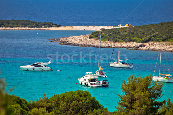 Sakarun beach yachting bay aerial view, Stock photo © xbrchx