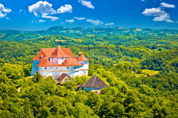 Idyllic green landscape of Zagorje region with Veliki Tabor cast Stock photo © xbrchx