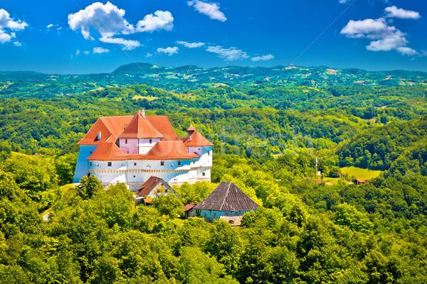 Idylliczny zielone krajobraz region zamek Zdjęcia stock © xbrchx