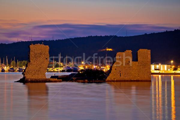 Sukosan old ruin on the sea sunset view Stock photo © xbrchx