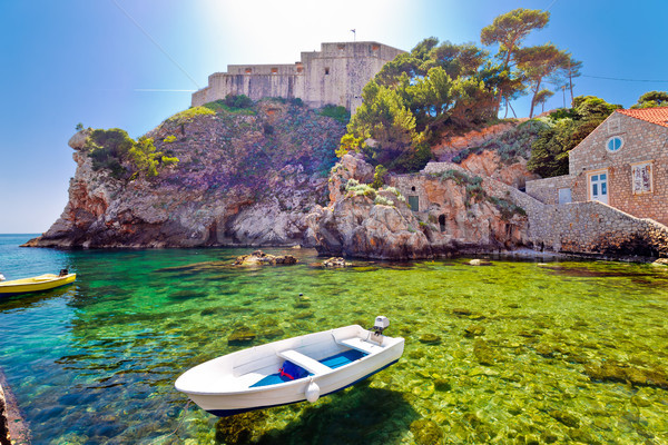 Dubrovnik bay and historic walls and Lovrijenac fort view Stock photo © xbrchx