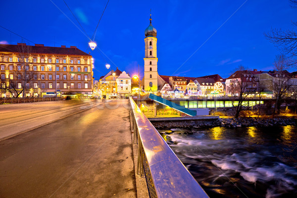 Stock photo: Mur river and Graz cityscape evening view