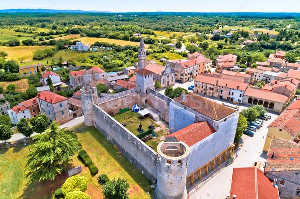 Stock photo: Village of Svetvincenat in inland Istria aerial view